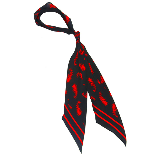 Rolling Stones Paisley Super Skinny Scarf Black & Red