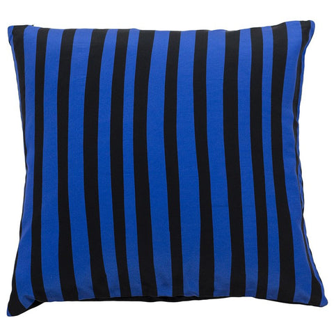 Stripy Cushion Black & Blue