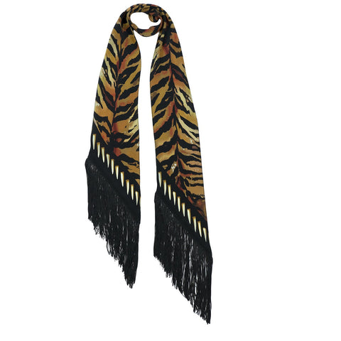 Tiger Classic Skinny Fringed Scarf Gold