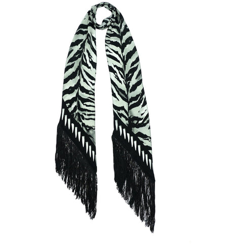 Tiger Classic Skinny Fringed Scarf Silver