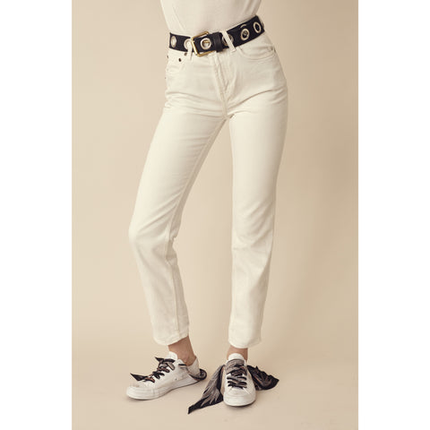 High Rise Non Stretch Straight Leg Denim Jean Off White