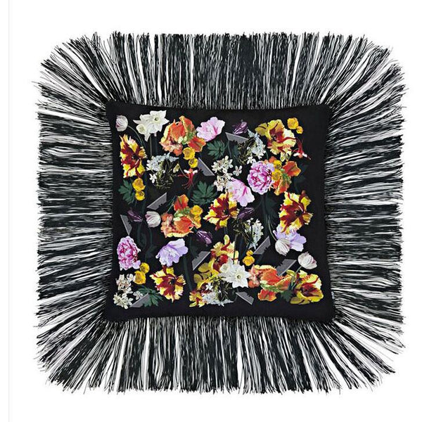 Flora Fringed Cushion Black