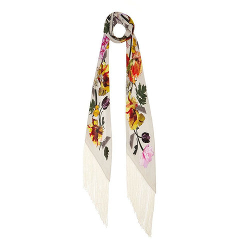Flora Classic Skinny Fringed Scarf Ivory
