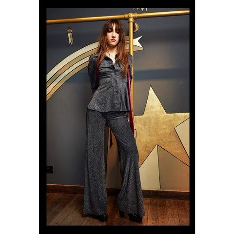 Lurex Wide Leg Trouser Silver