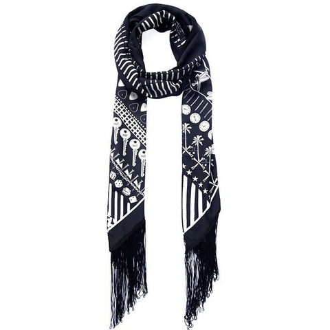 'Rockins' Maxi Fringed Scarf (Black)
