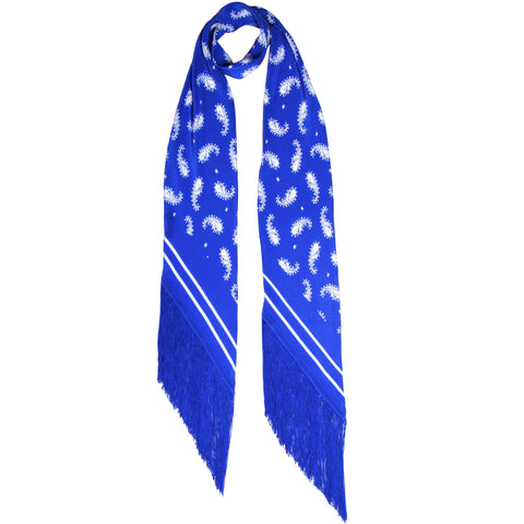 Rolling Stones Paisley Classic Skinny Fringed Scarf Blue