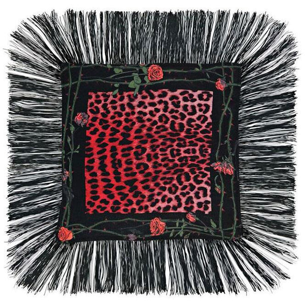 Rose Leopard Fringed Cushion Fuchsia