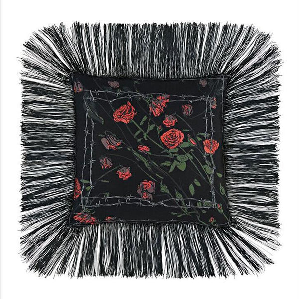 Roses Fringed Cushion Black