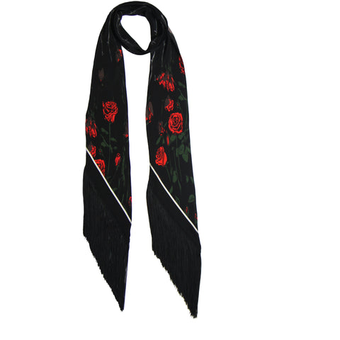 Roses Classic Skinny Fringed Scarf Black