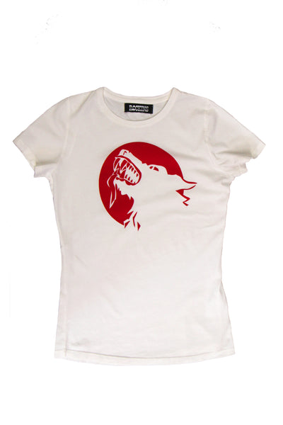 Wolf Printed T-Shirt Washed White