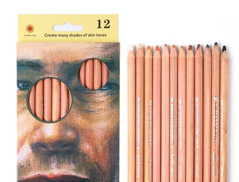 12 Professional Soft Pastel Pencils for Natural Skin Tones