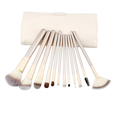 12-Piece Professional Makeup Brush Set with Bag
