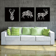 3-Piece White Deer Head and Boar Canvas Wall Art