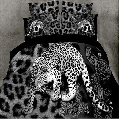 3D Black Leopard Printed Duvet Cover Set King Queen Size