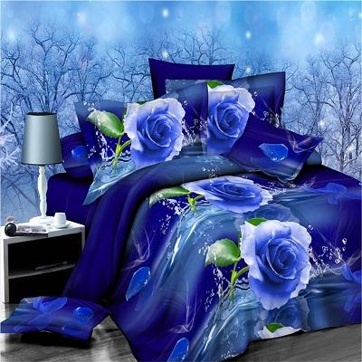 3D Blue Flower Printed Duvet Cover Set King Queen Size