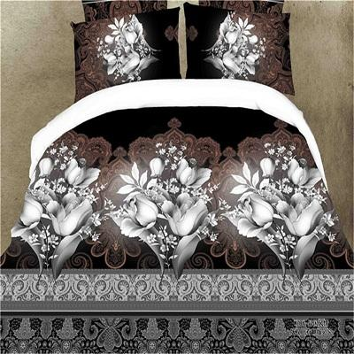 3D Brown Flower Printed Duvet Cover Set King Queen Size