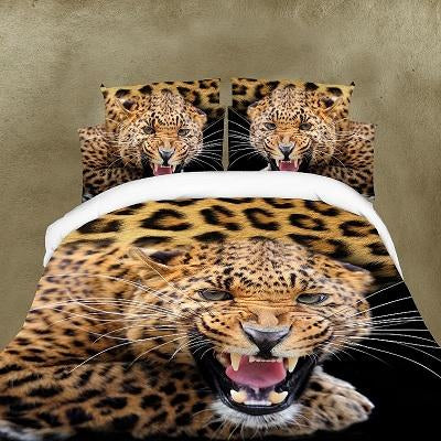 3D Leopard Printed Duvet Cover Set King Queen Size