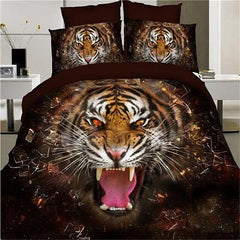 3D Tiger Printed Duvet Cover Set King Queen Size