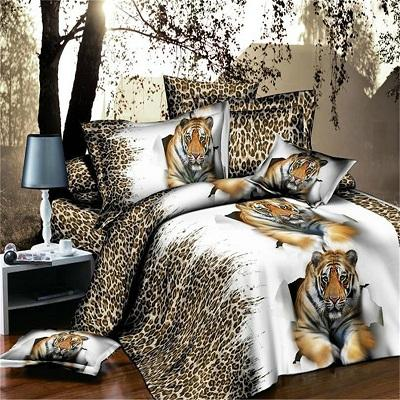 3D Leopard Tiger Printed Duvet Cover Set King Queen Size