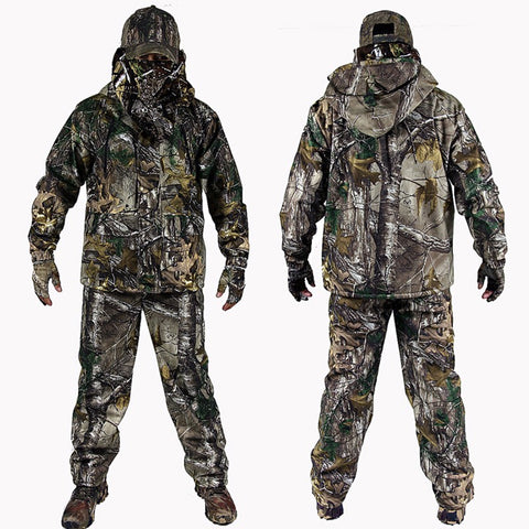 4PCS Winter Bionic Camouflage Hunting Suit with Gloves and Hat