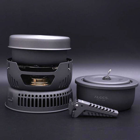 Portable Outdoor Alcohol Stove and Non-stick Cookware Set