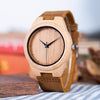 Image of Bamboo Wooden Wrist Watch with Genuine Leather Strap and Gift Box