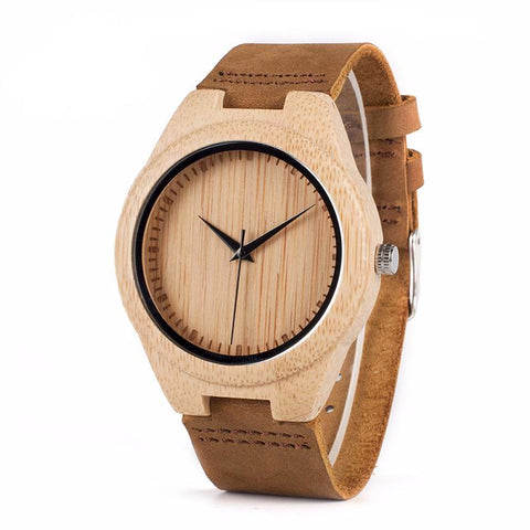 Bamboo Wooden Wrist Watch with Genuine Leather Strap and Gift Box