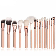 15-Piece Makeup Brush Set with Leather Bag