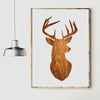 Image of Wood Print Deer Head Canvas Wall Art