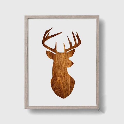 Wood Print Deer Head Canvas Wall Art