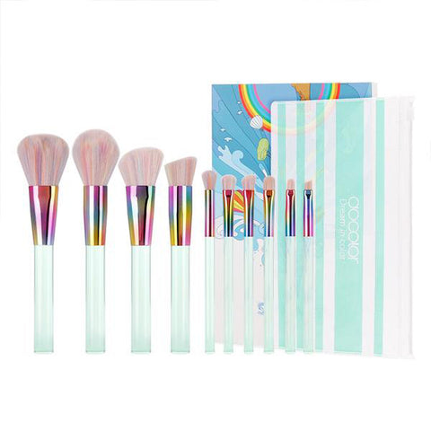 10-Piece Light Green Makeup Brush Set