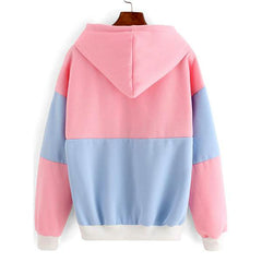 Pink and Blue Color Block Style Pullover Drawstring Hoodie