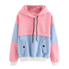 Image of Pink and Blue Color Block Style Pullover Drawstring Hoodie