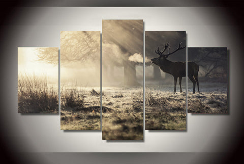 Winter Deer Canvas Wall Art
