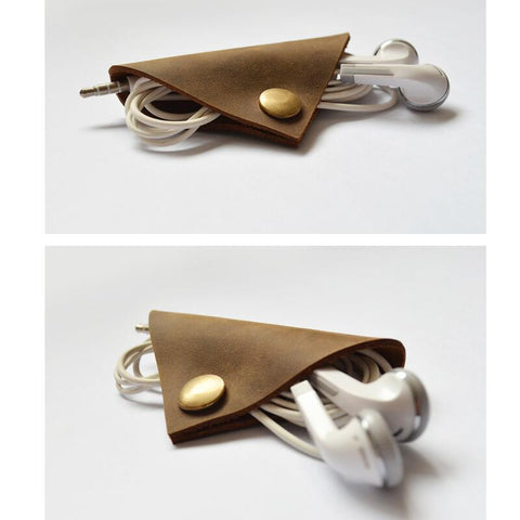 Leather Earphone Cable Winder