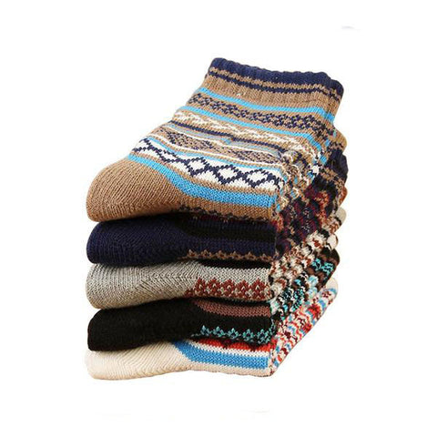 5 Pairs Thick Knitted Cashmere Socks