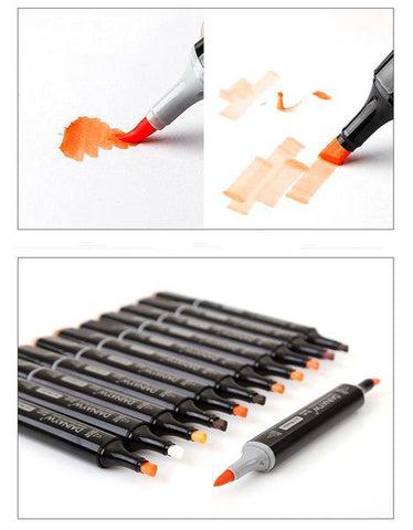 12 Colors Skin Tones Soft Brush Markers Set