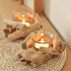 Glass Candlestick Tealight Holder with Wooden Base