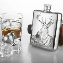 6 oz Stainless Steel Wine Bottle Hip Flask with Gift Box