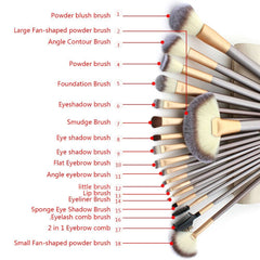 18 / 12-Piece Professional Makeup Brush Set with Bag