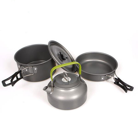Portable Outdoor Aluminum Alloy Cookware Pans and Kettle