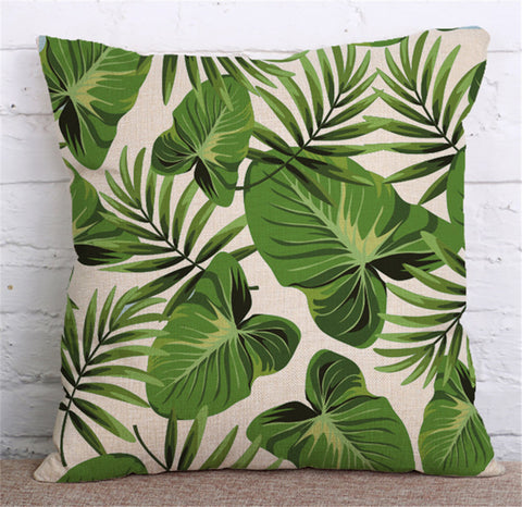 Tropical Plants Decorative Linen Cushion Cover