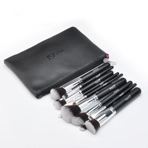 15-Piece Black Makeup Brush Set with Leather Bag