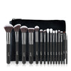 Image of 15-Piece Black Makeup Brush Set with Leather Bag