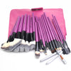 Image of 24-Piece Pink Makeup Brush Set with Leather Bag