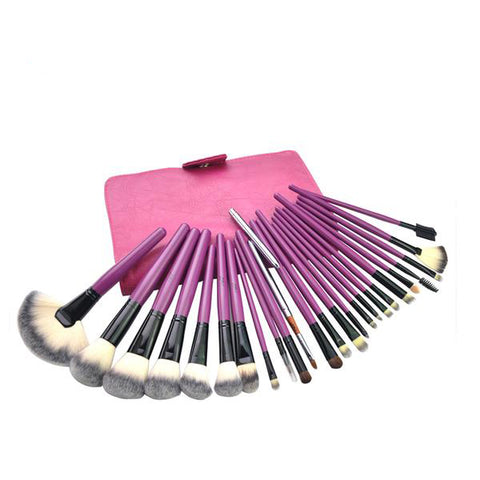 24-Piece Pink Makeup Brush Set with Leather Bag