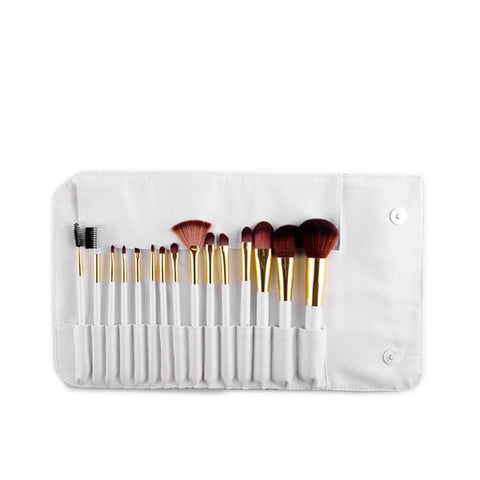 15-Piece White Makeup Brush Set