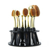 Image of 10-Piece Oval Makeup Brush Set with Brush Holder
