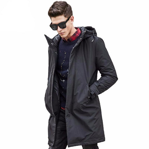 Relaxed Fit Hooded Parka Jacket for Men