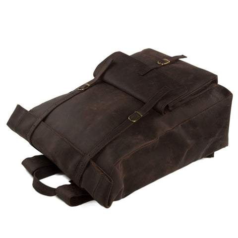 Roll Top Genuine Leather Backpack